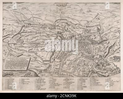 Speculum Romanae Magnificentiae: View of Rome from the North, 1561. - Stock Photo