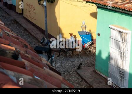 August 24, 2019: A horse drawn cart. Trinidad, Cuba - Stock Photo