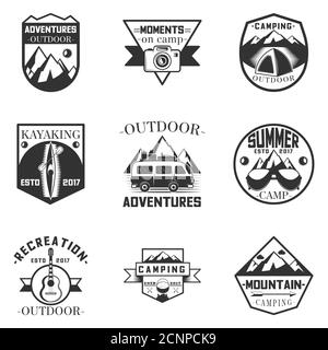 Vector set of outdoor activity, camping and expedition labels in vintage style. Design elements, icons, logo. Camp outdoor adventure illustration. - Stock Photo