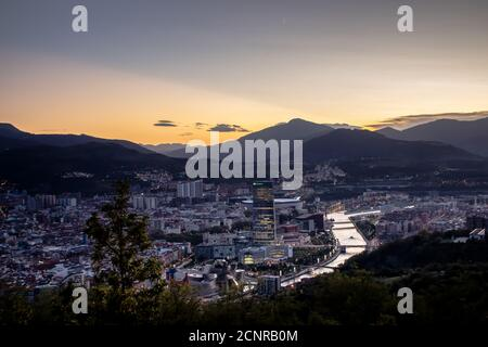 View of Bilbao in sunset.