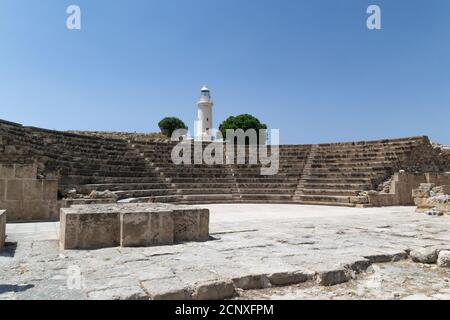 Odeon amphitheatre in Paphos Archaeological Park (Kato Pafos), harbour of Paphos, Cyprus. - Stock Photo