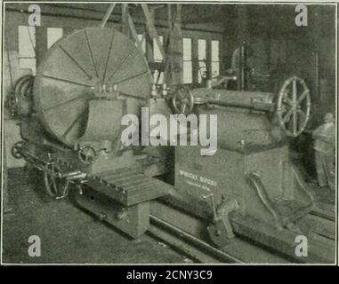 . Railway mechanical engineer . chine of this size. An eight-inch beltfrom a countershaft running at 200 r.p.ni. transmits 40 hp.to the spindle of the lathe. The spindle is made of castiron, on thf theory that cast iron is less elastic than steel,and therefore will not spring when making heavy cuts, andfor this reason reduces chattering. To compensate for thestrength of a steel spindle the cast iron spindle is of generousproportions, the front bearing being 16 in. in diameter by24 in. long, and the rear bearing 14 in. in diameter by 20in. long. The lathe is triple back geared and all changes i