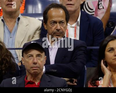 Hedge Fund manager John Paulson attends the men's singles final match between Roger Federer of Switzerland and Novak Djokovic of Serbia at the U.S. Open Championships tennis tournament in New York, September 13, 2015.      REUTERS/Mike Segar - Stock Photo