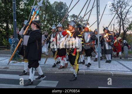 PRAGUE - September 18: Procession of historical re-enactors marking the eve of the Battle of Bila Hora, 400 years ago at Pisecka Gate on September 18,