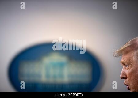 Washington, DC, USA. 18th Sep, 2020. US President Donald J. Trump responds to a question from the news media during a press conference at the White House in Washington, DC, USA, 18 September 2020. Credit: Shawn Thew/Pool via CNP/dpa/Alamy Live News
