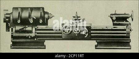. Railway mechanical engineer . Drawing Showing the Inside of the Arch Tube Cleaner apart for introducing the power into the rotor. The rotor isprovided with four steel blades, placed 90 deg. apart andworking in slots in the rotor. These blades are forced outagainst the inside casing of the tool which is elliptical incross section, so that when the rotor revolves, the blades aremoved in and out of their slots. This provides a means ofgetting pressure against one side of the blades and drivingthe rotor forward, the steam or air being released to the. Front of Engine Lathe Showing Control Levers
