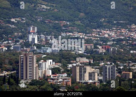 Residential buildings are seen in San Salvador, El Salvador September 24, 2018. REUTERS/Jose Cabezas - Stock Photo