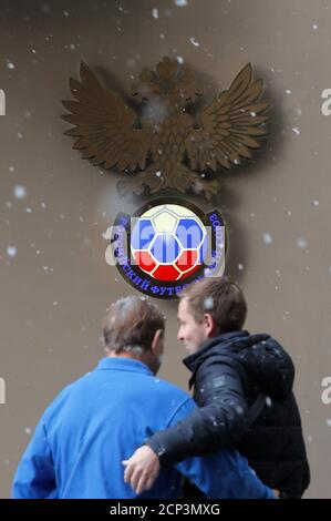 A Russian Football Union sign is seen during their meeting in Moscow, Russia December 19, 2018. REUTERS/Maxim Shemetov