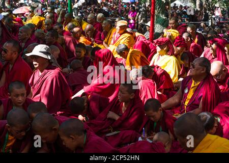 the Nubra Valley with the village of Sumur, the Dalai Lama visiting the Samtanling Gompa monastery - Stock Photo