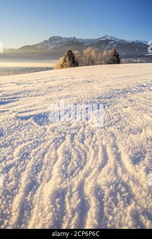 Herzogstand and Heimgarten in winter, Großweil, Upper Bavaria, Bavaria, Southern Germany, Germany, Europe - Stock Photo
