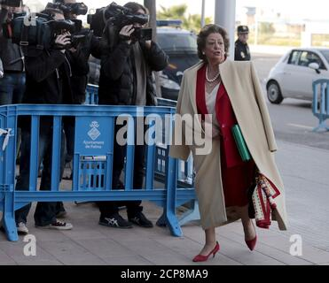 Former mayor of Valencia, Rita Barbera arrives at court to testify in the Noos case, in which Spain's Princess Cristina stands accused of tax fraud in Palma de Mallorca, Spain, April 12, 2016. REUTERS/Enrique Calvo