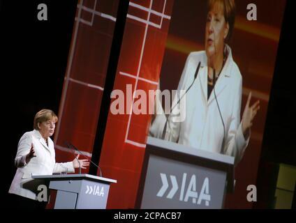 German Chancellor Angela Merkel gives a speech as she makes an opening tour of the Frankfurt Motor Show (IAA) in Frankfurt, Germany September 17, 2015. REUTERS/Ralph Orlowski