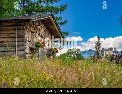 Alpine hut and NS-Ordensburg, Generaloberst-Beck-Kaserne, Sonthofen, Oberallgäu, Allgäu, Swabia, Bavaria, Germany - Stock Photo