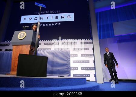 U.S. President Barack Obama arrives to speaks at the White House Frontiers Conference in Pittsburgh, U.S. October 13, 2016.  REUTERS/Carlos Barria - Stock Photo