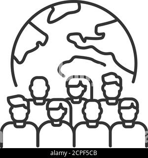Overpopulation planet black line icon. Social problem concept. Sign for web page, mobile app, banner, social media. Editable stroke. - Stock Photo