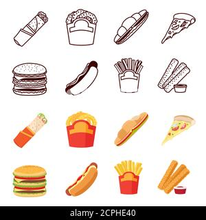 Line and color silhouettes fastfood vector icons set on white background - Stock Photo
