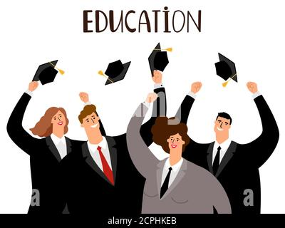 Adult education, male and female graduates vector concept - Stock Photo
