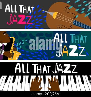 Jazz piano, saxophonist african jazz modern colorful vector banners