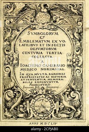 . Symbolorum et emblematum ... centuria una [-quatuor] . Securusmoritur,quifiitfimorttrenafii;Honeamorsdic^fidnsrtatttafoteft. FWIS CtnturUl,. ANNO M. D ChW m OJ05 w -w 44 - Stock Photo