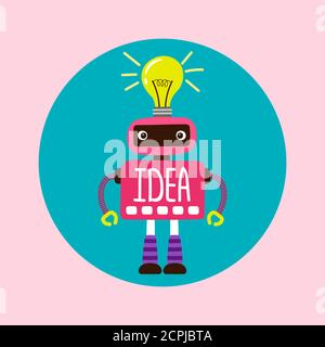 Female cartoon robot with new idea vector illustration. Idea of intelligence, artificial character, bot machine and robot ai Stock Photo