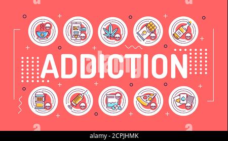 Addiction word lettering typography. Infographics with linear icons on red background. Creative idea concept. Isolated outline color illustration. - Stock Photo