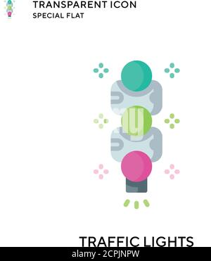 Traffic lights vector icon. Flat style illustration. EPS 10 vector. - Stock Photo