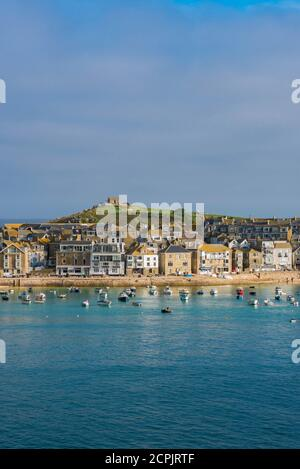 St Ives UK, view in summer across St Ives bay towards the town's beach, Cornwall, south west England, UK