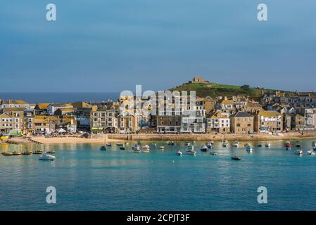 St Ives Cornwall, view in summer across St Ives bay towards the town's beach, Cornwall, south west England, UK
