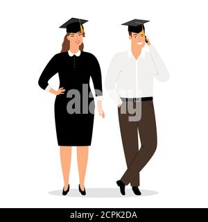 Graduates people in official clothes vector illustration. Students graduation woman and man - Stock Photo