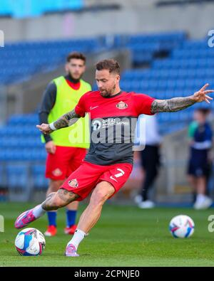 Oxford, UK. 19th Sep, 2020. Chris Maguire of Sunderland practises shooting before the Sky Bet League 1 behind closed doors match between Oxford United and Sunderland at the Kassam Stadium, Oxford, England on 19 September 2020. Photo by Nick Browning/PRiME Media Images. Credit: PRiME Media Images/Alamy Live News - Stock Photo