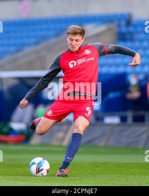 Oxford, UK. 19th Sep, 2020. Charlie Wyke of Sunderland warms up before the Sky Bet League 1 behind closed doors match between Oxford United and Sunderland at the Kassam Stadium, Oxford, England on 19 September 2020. Photo by Nick Browning/PRiME Media Images. Credit: PRiME Media Images/Alamy Live News - Stock Photo