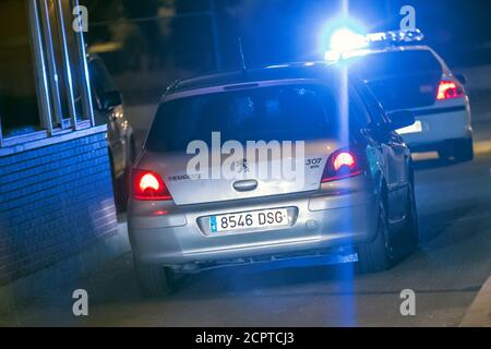 A car believed to be carrying Carme Forcadell, Speaker of the Catalonian parliament, arrives to the Alcala Meco prison after a judge ordered Forcadell free on bail but to be held in custody until she pays the 150,000 euro bail, in Alcala de Henares, outside Madrid, Spain, early November 10, 2017 REUTERS/Juan Medina - Stock Photo