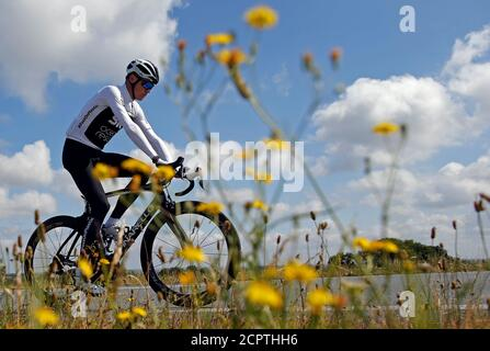 Cycling - Tour de France - Team Sky Training - July 6, 2018 - Team Sky rider Chris Froome of Britain trains. REUTERS/Stephane Mahe - Stock Photo