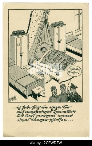 German historical postcard: The soldier is asleep, the service is on. He sleeps on duty in the bed under a stole, satirical series, world war ii, 1939