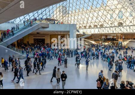 Tourists visit Louvre museum on December 30, 2019 in Paris. Louvre is the world's largest and most visited art museum in the world.