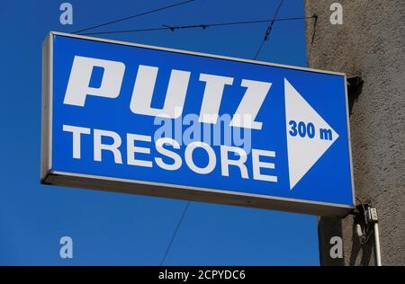 The logo of Putz Tresore (Putz safes) manufacturer is seen in Vienna, Austria, June 28, 2016. REUTERS/Heinz-Peter Bader