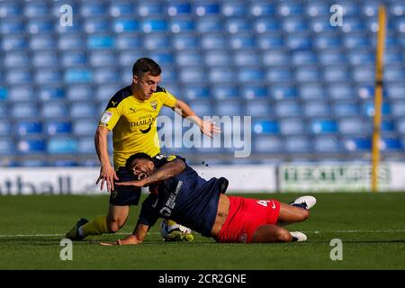 Oxford, UK. 19th Sep, 2020. Jordan Willis of Sunderland is tackled from behind during the Sky Bet League 1 behind closed doors match between Oxford United and Sunderland at the Kassam Stadium, Oxford, England on 19 September 2020. Photo by Nick Browning/PRiME Media Images. Credit: PRiME Media Images/Alamy Live News - Stock Photo