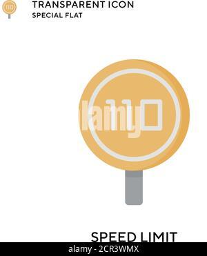 Speed limit vector icon. Flat style illustration. EPS 10 vector. - Stock Photo