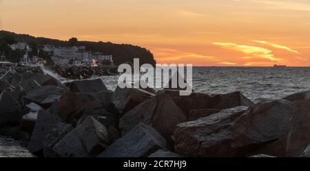 Germany, Mecklenburg-Western Pomerania, Sassnitz, Fürstenhof holiday home on the lake promenade, sunrise, Ruegen island, Baltic Sea