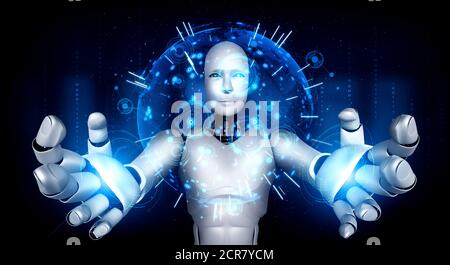 AI humanoid robot holding hologram screen shows concept of global communication network using artificial intelligence thinking by machine learning