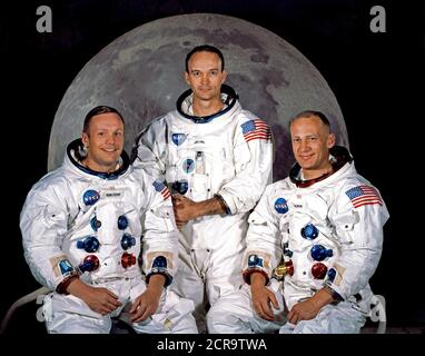 NASA named these three astronauts as the prime crew of the Apollo 11 lunar landing mission.  L to R, are Neil A. Armstrong, commander; Michael Collins, command module pilot; and Edwin E. Aldrin - Stock Photo