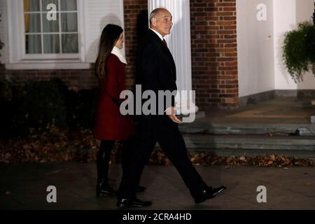 Retired U.S. Marine Corps General John Kelly walks to a meeting with U.S. President-elect Donald Trump at Trump National Golf Club in Bedminster, New Jersey, U.S., November 20, 2016.  REUTERS/Mike Segar - Stock Photo