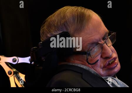 British scientist and theoretical physicist Stephen Hawking attends a launch event for a new award for science communication, called the Stephen Hawking Medal for Science Communication, in London, Britain December 16, 2015. REUTERS/Toby Melville - Stock Photo