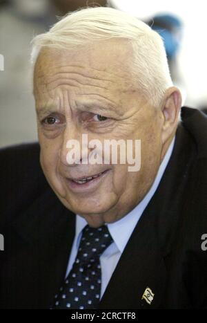 ISRAELI PRIME MINISTER ARIEL SHARON ATTENDS A SESSION OF PARLIAMENT'S FOREIGN AFFAIRS AND DEFENCE COMMITTEE IN JERUSALEM. - Stock Photo