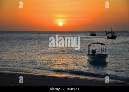 Ocean Sunset on Zanzibar Island Stock Photo