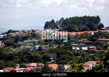 Residential houses are seen from El Balsamo Mountain Range in San Salvador, El Salvador September 24, 2018. REUTERS/Jose Cabezas - Stock Photo