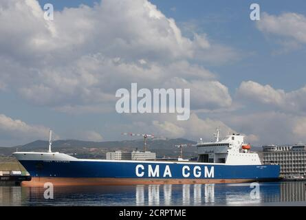 Cargo ship 'Mont Ventoux' operated by CMA-CGM shipping Company is seen moored in the port of Marseille, France, March 14, 2016.   REUTERS/Jean-Paul Pelissier