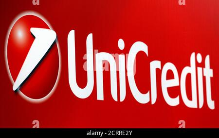 Unicredit bank logo is seen on a banner downtown Milan, Italy, May 23, 2016. REUTERS/Stefano Rellandini