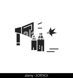Revolution glyph black icon. Civil unrest, vandalism. Social protest. Pictogram for web page, mobile app, promo. - Stock Photo