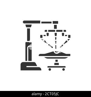 Medical robot black glyph icon. Robot surgeon makes a surgery patient on the operating table. Innovation in medicine. Sign for web page, app. UI UX - Stock Photo